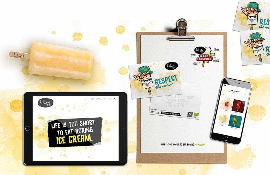 toc. designstudio  - Laloa Icepops - Konzeption, Branding, Foodstyling-Konzeption, Corporate Design, Printdesign, Fotografie, Illustration, Texte, Entwickung der Verkaufsmodule
